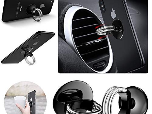 Phone Ring Holder & Air Vent Car Phone Mount 2 in 1,Finger Ring Stand Phone Grip with Strong Sticky Gel Pad for Cell Phone,Tablet and Phone CaseBlack