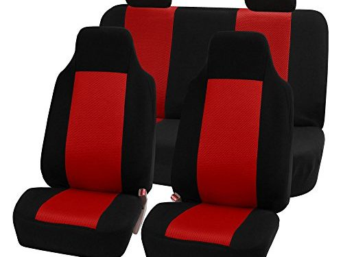 FH GROUP FH-FB102114 Classic Cloth Car Seat Covers Red / Black color