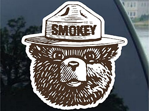 Smokey the Bear Firefighting WILDFIRE sticker decal 4″ 2 Pack, Brown
