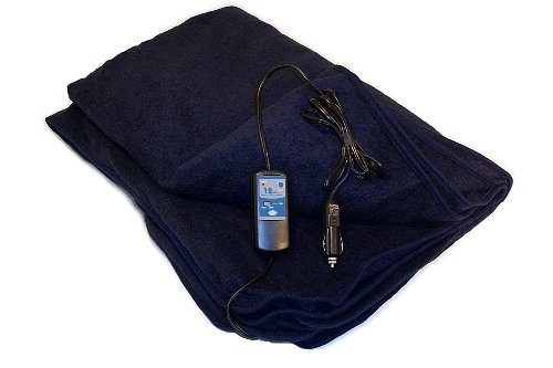 Car Cozy 2 – 12-Volt Heated Travel Blanket Navy, 58″ x 42″ with Patented Safety Timer by Trillium Worldwide