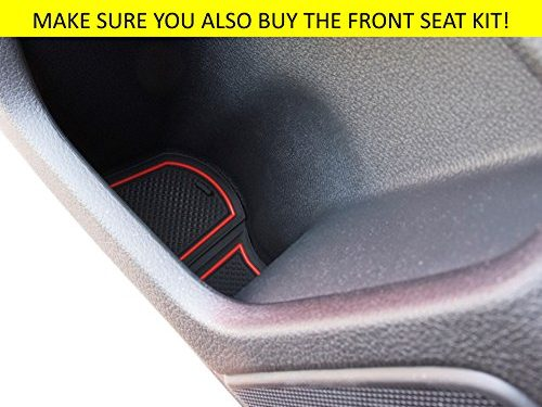 Custom Fit Cup, Door and Center Console Liner Accessories for Honda Civic 2018 2017 2016 4-pc Set Hatchback Back Seat, Red Trim