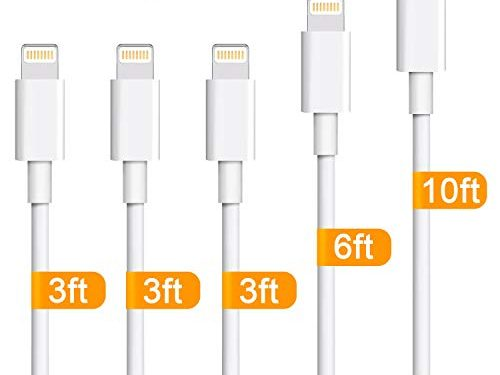 iPhone Charger,Sundix 5 Pack 3ft/3ft/3ft/6ft/10ft Lightning Cable iPhone Charging Syncing Cord Charger Cable Compatible iPhone X 8 8Plus 7 7Plus 6s 6sPlus 6 6Plus SE 5 5s 5c more