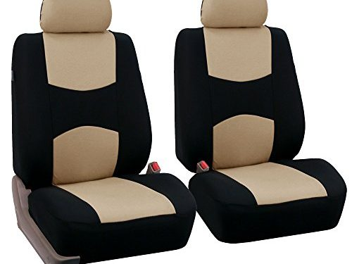 FH Group Universal Fit Flat Cloth Pair Bucket Seat Cover, Beige/Black FH-FB050102, Fit Most Car, Truck, Suv, or Van