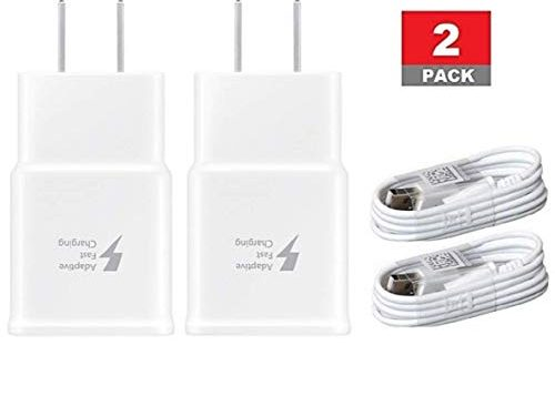 Samsung 2 Pack Fast Charging Adapter Travel Charger + 2 Micro USB Data Cables – White