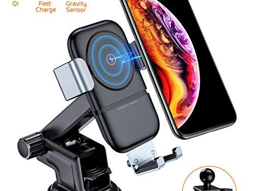 VANMASS Wireless Car Charger, 10W Qi Fast Charging, Universal Car Air Vent Mount Phone Holder with Gravity Sensor Compatible with Samsung Galaxy S8/8+, S9/9+, Note8, iPhone 8/8 Plus/X and More.