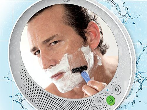 """iLuv Water Resistant Portable Bluetooth Shower Speaker with Large Mirror 6.2""""x 5.3"""" for Easy Viewing, Hands-Free Function, Suction Cup, Flexible Strap and Stand – iPhone, Samsung Phone and More"""