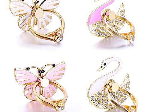 Cell phone holder, 4 piece Best Share Luxury Diamond Universal Metal Smartphone Ring Grip Stand For Iphone/Ipad/Samsung HTC/Nokia/Smartphones/Tablet2 Butterfly 2 Swan