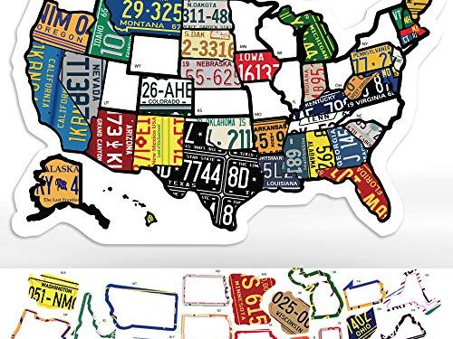 Trailer Supplies & Accessories – USA States Visited Decal – Exterior or Interior Motorhome – 11″ x 17″ – RV State Sticker Travel Map – United States License Plate Non Magnet Road Trip Window Stickers