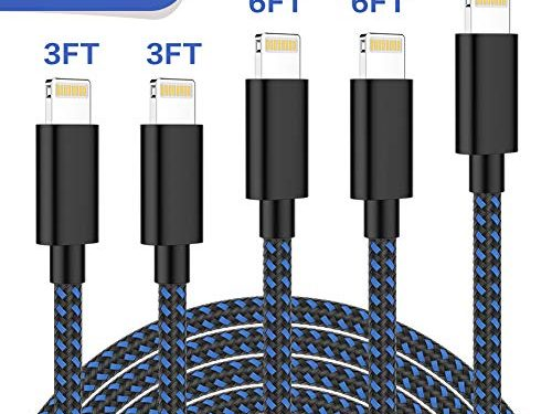 TNSO MFi Certified Phone Cable 5Pack 3FT 3FT 6FT 6FT 10FT Nylon Braided USB Charging & Syncing Cord Compatible with Phone Xs max Phone 8 8 Plus 7 7 Plus 6s 6s Plus 6 6 Plus Blue