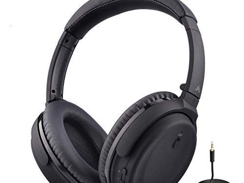 Avantree Active Noise Cancelling Bluetooth 4.1 Headphones Mic, Wireless Wired Comfortable Foldable Stereo ANC Over Ear Headset, Low Latency TV PC Phone – ANC032 24M Warranty
