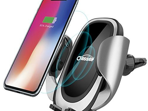 Oasser Wireless Charger Car Mount Fast Charger Car Phone Holder with Adjustable Coil 10W Charge for Samsung Galaxy S8/S7/S7 Edge, Note 8/5 and Standard Charge for iPhone X/8/8 Plus