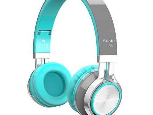 Elecder i39 Headphones with Microphone for Kids Children Girls Boys Teens Adults Foldable Adjustable On Ear Headsets for iPad Cellphones Computer MP3/4 Kindle Airplane School Mint/Gray