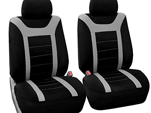 FH Group Sports Fabric Car Seat Covers Pair Set Airbag compatible, Gray/Black- Fit Most Car, Truck, Suv, or Van