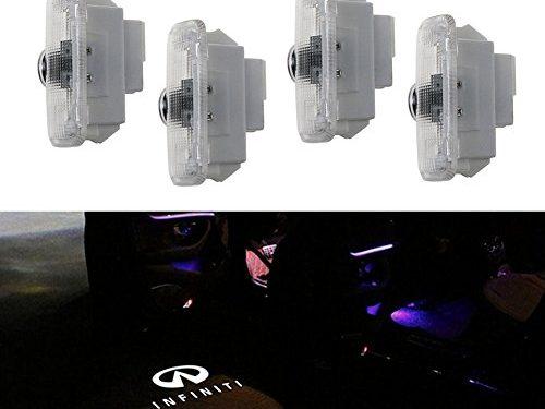 Grolish 4 Piece Easy installtion Logo Door Light Emblem Car Door Light for Infiniti