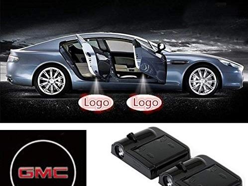 bearfire 2 Pcs Wireless Car Door Led Welcome Laser Projector Logo Light Ghost Shadow Light Lamp Logos for GMC Accessory