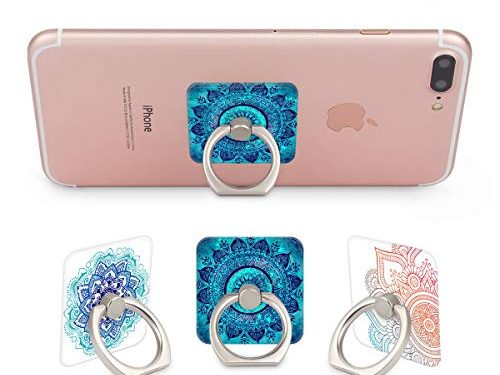 Three Pack Phone Ring Holder 360 Degree Rotating Stand for Cellphones,Smartphones and Tablets-Mandala Flower