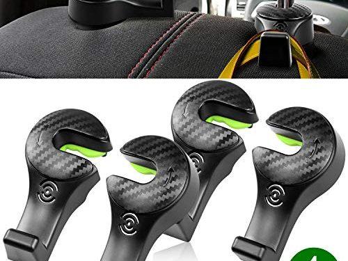 2018 Upgraded Universal Vehicle Organizer Car Back Seat Headrest Hanger Holder with Locking Design for Bag Purse Cloth Grocery – 4 Pack Car Headrest Hooks – Black