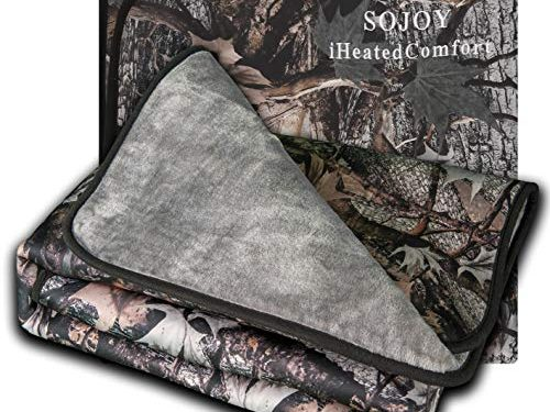 Sojoy 12V Electric Heated Travel Blanket for Car, Truck, Boats or RV with High/Mid/Low Temp Control, Multi-Function Smart Timing 55″x40″ Camouflage