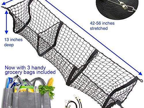now with 3 reusable grocery bags – Hang Outs Premium Three Pocket Mesh Storage Net – Black Mesh Three Pocket Trunk Cargo Organizer – fits larger trucks with bungee cords