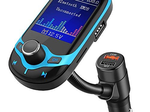 KM28 Blue – Nulaxy Bluetooth FM Transmitter 1.8″ Color Screen Wireless Receiver Car Kit W QC3.0 Quick Charge, Car Battery Voltage Reading, Handsfree Calling, Support USB Drive, TF Card, AUX, EQ Mode