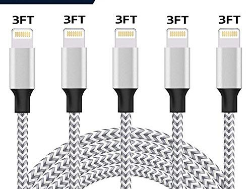iPhone Charger, Lightning Cable, 5 Pack 3Ft Nylon Braided Fast Charging Cable USB Charger Data Sync Cord Compatible with iPhone 7/Plus/XS Max/XS/XR/X 10/8/Plus/6S 6/Se More