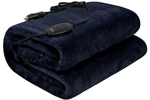 Sojoy Washable 12V Heated Travel Electric Blanket for Car, Truck, Boats or RV with High/Low Temp Control 55″x 40″ Navy Blue Black
