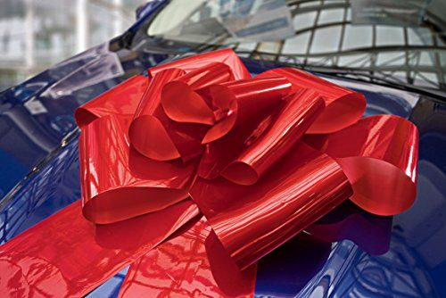 """Attaches with Magnets & Suction Cup – Kenley 23″ Large Red Magnetic Car Bow with 56"""" Ribbon Strings – Huge WOW Big Surprise Decoration Wrap for Wedding, Birthday, Giant Presents"""