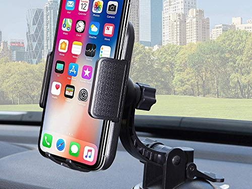 Bestrix Universal Dashboard & Windshield Car Phone Mount Holder Compatible with iPhone 6/6S/7/8/X Plus 5S/5C/5 Samsung Galaxy S5/S6/S7/S8/S9 Edge/Plus Note 4/5/8 LG G4/G5/G6 All Smartphones up to 6″