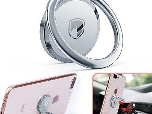 FITFORT 360° Rotation Metal Ring Grip for Magnetic Car Mount Compatible with All Smartphone-Sliver – Phone Ring Holder Finger Kickstand