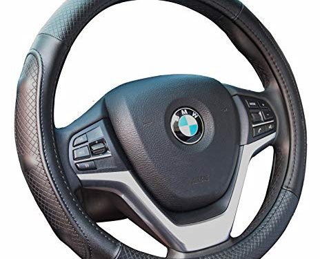 Steering Wheel Covers with Genuine Leather Universal 15 inch for Car Truck SUV Black with Black Lines