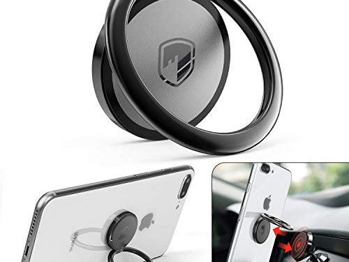 FITFORT 360° Rotation Metal Ring Grip for Magnetic Car Mount Compatible with All Smartphone-Black – Phone Ring Holder Finger Kickstand