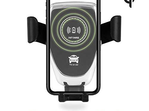 Acumen Wireless Car Charger Mount Qi Fast Car Charger Gravity Air Vent Phone Holder 7.5W Compatible with iPhone Xs XR/X/8/8 Plus, 10W with Galaxy Note 9 S9 S9 Plus Note 8 Car Charger Included Black