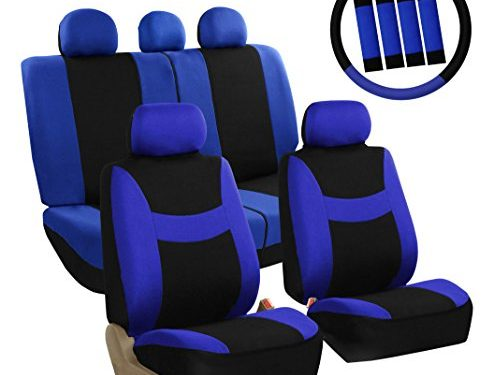 FH Group FB030BLUEBLACK-COMBO Seat Cover Combo Set with Steering Wheel Cover and Seat Belt Pad Airbag Compatible and Split Bench Blue/Black