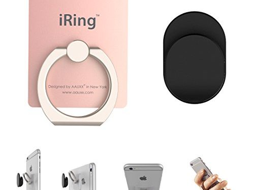 Rose Gold – iRing IP-0BK0-1EN AAUXX Premium Set : Safe Grip and Kickstand for Smartphones and Tablets with Simplest Smartphone Mount