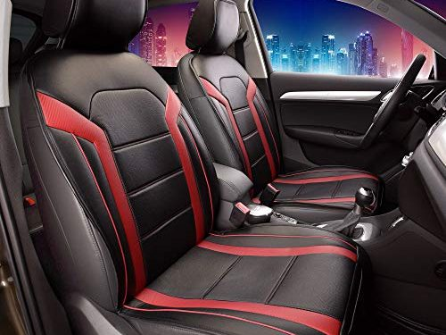 FH Group Leatherette Red and Black Car Seat Cushions Sideless PU208RED102 Set of 2 Airbag Compatible