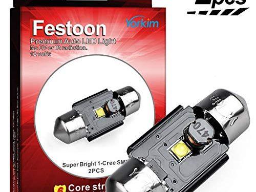 """Yorkim LED 31mm Festoon Bulb 3W CREE Super Bright Xenon White Lights, Canbus Error Free, No Polarity, LED Car Interior Light Dome Map Courtesy Lamps 31MM/1.23"""" for DE3175 DE3021 DE3022 3175"""