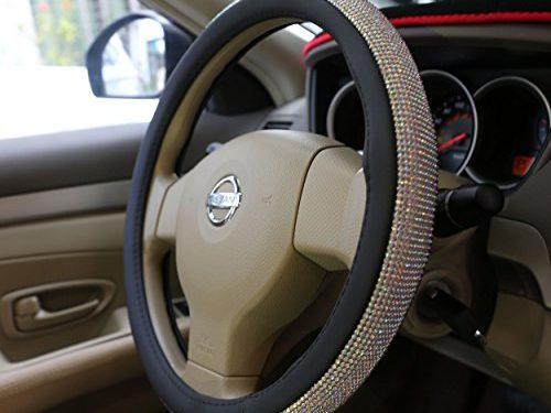 Sino Banyan Steering Wheel Covers,15″ Universal PU Leather DAD Cystal Diamond Steering Wheel Cover Four Seasons Steering Cover for Women & GirlMulticolor Rhinestone