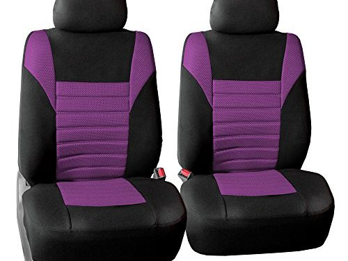 FH GROUP FH-FB068102 Premium 3D Air Mesh Seat Covers Pair Set Airbag Compatible, Purple / Black Color- Fit Most Car, Truck, Suv, or Van