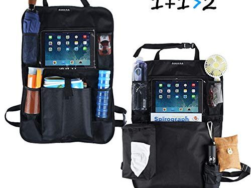 """SUUKAA Upgraded 2 Styles Car Seat Back Organizer,with 600D Oxford Fabric,10 inch Touch Screen Pocket,Tissue Box,Multi-Pocket Storage,2 Hooks,24.5""""x16.5"""""""