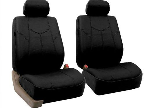 Fit Most Car, Truck, SUV, or Van – FH Group FH-PU009102 Rome PU Leather Pair Set Car Seat Covers, Airbag Compatible, Solid Black