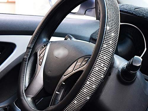 FEENM Steering Wheel Cover Bling Bling Rhinestones Crystals Car Handcraft Steering Wheel Covers Leather for Girls Black