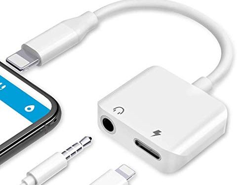 Car Charger for iPhone X headphone adapter charger Adapter 3.5mm Aux Headphone Jack Adaptor USB cable Charger Compatible for iPhone 8/8Plus //XS/MAX Support to Music and Charger Replacement for iOS 12