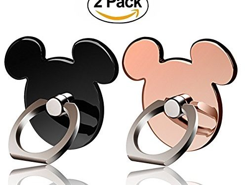 Cartoon Phone Ring Stand Holder BLACK&ROSEGOLD 360 Rotation Cell Phone Grip for Apple Iphone X/8 7 Plus 6 6S 5 5S Samsung Galaxy Note, Tablet and Ipad pipigo2 Pack