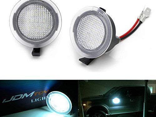 iJDMTOY Ice Blue LED Under Side Mirror Puddle Lights For Ford F150 Raptor Edge Explorer Flex, Lincoln Navigator Mark LT MKX etc. Powered by 18 pcs Aqua SMD LED Lights