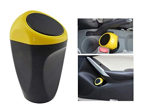 Yolu Car Trash Can, Mini Auto Garbage Can Automotive Waste Storage, Yellow, Cute Vehicle Trash Bins Common Use for Auto Car, Home, Office, Bathroom, Kitchen, Living Room, Study, Dinning Room Etc.