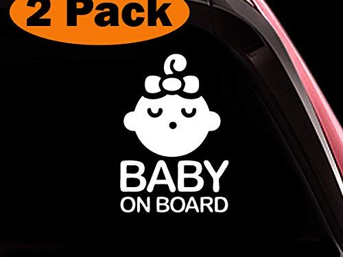 Seelping Baby Girl ALI-027 – Set of 2 Safety Caution Decal Sign Stickers Cars Windows Bumpers – TOTOMO Baby on Board Sticker