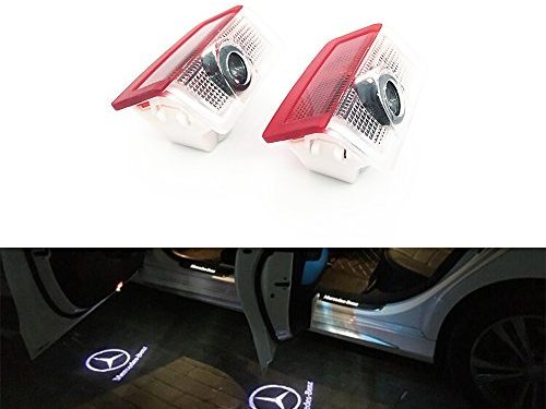 BAILONGJU 2pcs LED Car door courtesy laser projector Logo Ghost Shadow Light compatible with Mercedes Benz E A B C ML Class w212 w166 w176