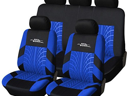 AUTOYOUTH Car Seat Covers Universal Fit Full Set Car Seat Protectors Tire Tracks Car Seat Accessories – 9PCS, Black/Blue
