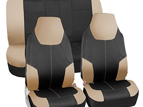FH Group FB116115 Neo-Modern Neoprene Seat Covers, Airbag & Split Ready, Beige/Black Color -Fit Most Car, Truck, SUV, or Van