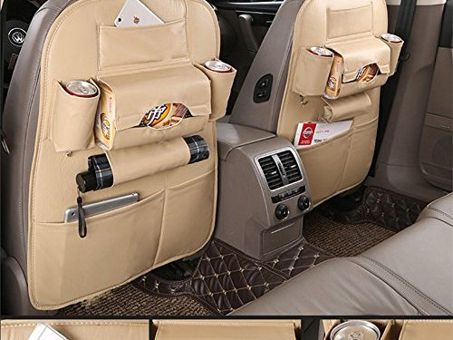 Car Back Seat Organizer Protector and iPad mini Holder Bag – 1 PACK Travel Accessories Toy Storage Bag with Tablet Holder for Kids, Storage Bottles, Tissue Box, Backseat Cover, Kick Mats Beige